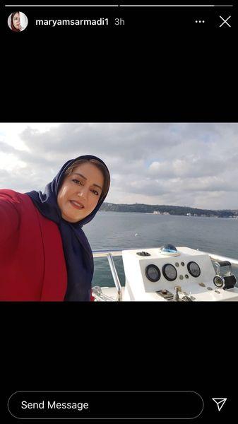 قایق سواری خانم بازیگر در ترکیه + عکس