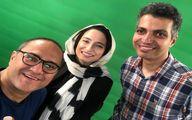 زوج بازیگر جنجالی در کنار مجری جنجالی