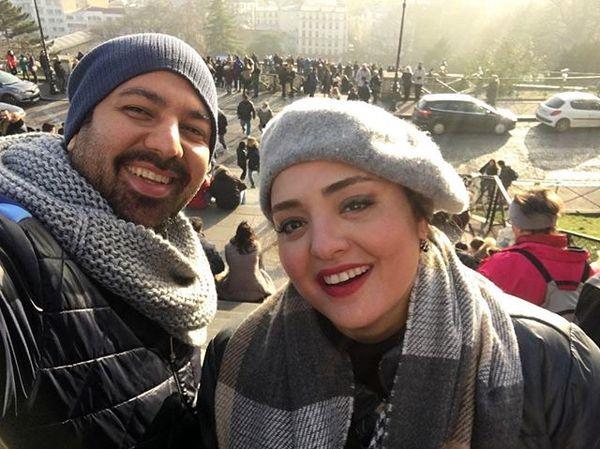 """ترانه """"بوی باران"""" کلاه به سر با همسرش در خارج از کشور+عکس"""