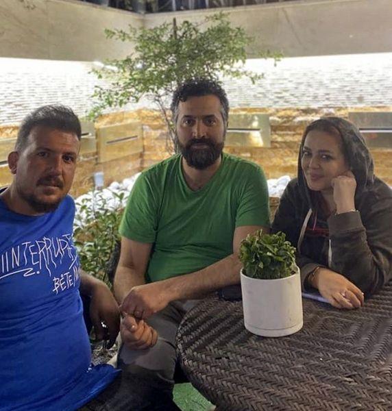 جعه سه نفره بهاره رهنما وهمسرش در کنار باغبونشون + عکس