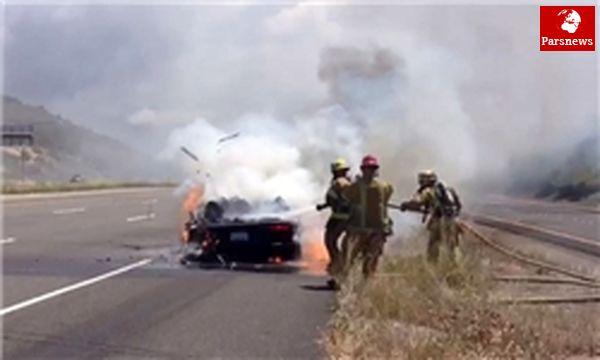 آتشسوزی پژو در جاده مشگینشهر