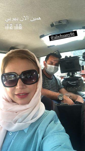 شبنم قلی خانی در پشت صحنه کار جدیدش + عکس