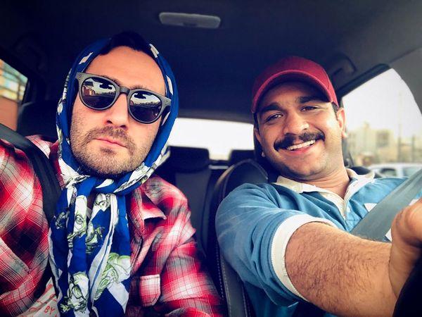 گردش آقای بازیگر با روسری+عکس