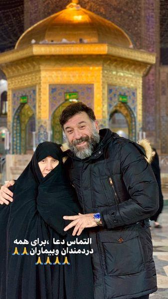 علی انصاریان و مادرش در مشهد + عکس