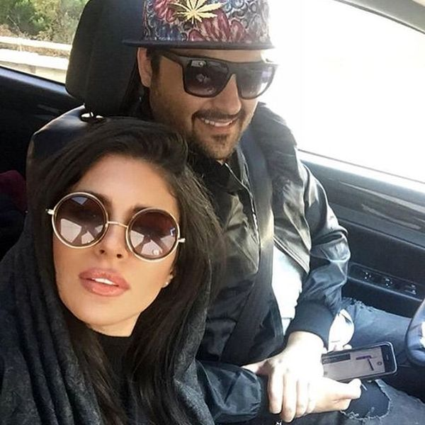 سلفی زیبای مهدی سلوکی و همسرش در ماشین