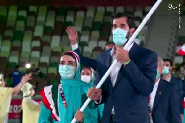 رژه کاروان ایران در مراسم افتتاحیه المپیک+ تصاویر