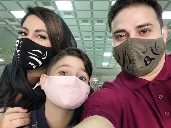 ماسک زدن بابک جهانبخش و خانواده اش در روزهای کرونا + عکس