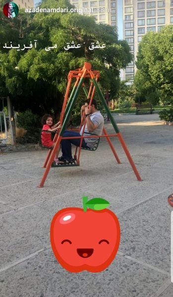 تفریح کودکانه همسر آزاده نامداری +عکس