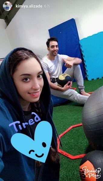 ورزش کردن کیمیا علیزاده و همسرش+عکس