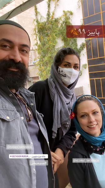 شیوا ابراهیمی در کنار همکارانش + عکس