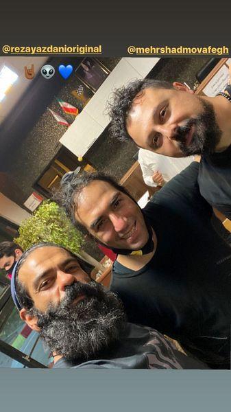 رضا یزدانی در کنار بازیگر معروف کرگدن + عکس