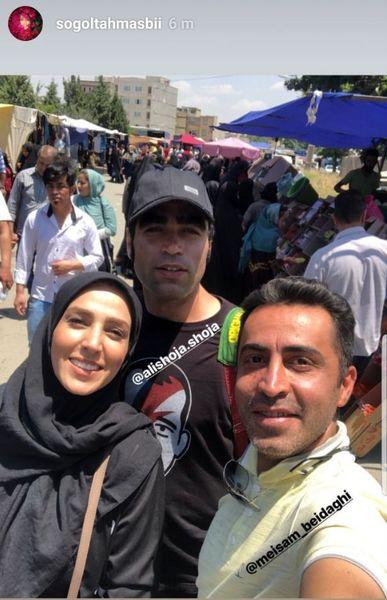 سوگل طهماسبی بین مردم در بازارچه