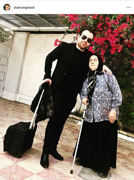 شهرام قائدی و مادرش + عکس